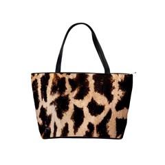 Yellow And Brown Spots On Giraffe Skin Texture Shoulder Handbags by Nexatart