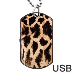 Yellow And Brown Spots On Giraffe Skin Texture Dog Tag Usb Flash (one Side) by Nexatart