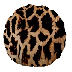 Yellow And Brown Spots On Giraffe Skin Texture Large 18  Premium Flano Round Cushions by Nexatart