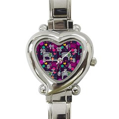 Love Colorful Elephants Background Heart Italian Charm Watch by Nexatart