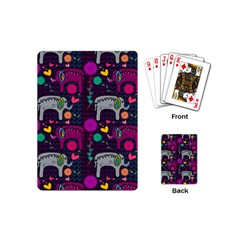 Love Colorful Elephants Background Playing Cards (mini)  by Nexatart