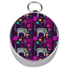Love Colorful Elephants Background Silver Compasses by Nexatart