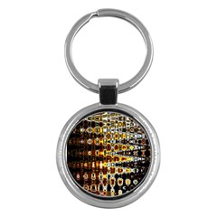 Bright Yellow And Black Abstract Key Chains (Round)  by Nexatart