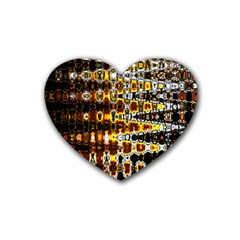 Bright Yellow And Black Abstract Heart Coaster (4 Pack)  by Nexatart