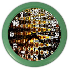 Bright Yellow And Black Abstract Color Wall Clocks by Nexatart