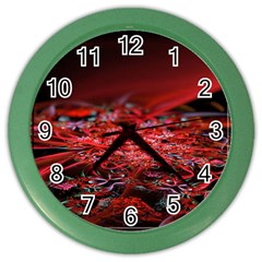 Red Fractal Valley In 3d Glass Frame Color Wall Clocks by Nexatart