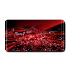 Red Fractal Valley In 3d Glass Frame Medium Bar Mats