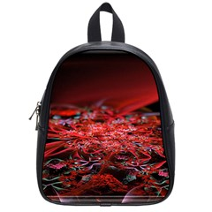 Red Fractal Valley In 3d Glass Frame School Bags (small)  by Nexatart