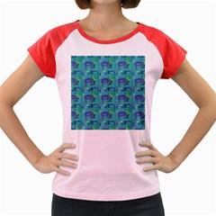 Elephants Animals Pattern Women s Cap Sleeve T Shirt