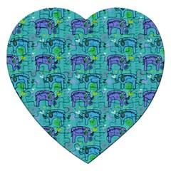 Elephants Animals Pattern Jigsaw Puzzle (Heart) by Nexatart