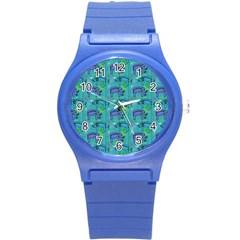 Elephants Animals Pattern Round Plastic Sport Watch (s) by Nexatart