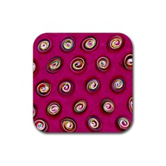 Digitally Painted Abstract Polka Dot Swirls On A Pink Background Rubber Square Coaster (4 Pack)  by Nexatart