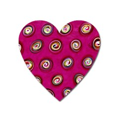 Digitally Painted Abstract Polka Dot Swirls On A Pink Background Heart Magnet by Nexatart