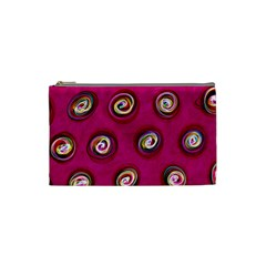 Digitally Painted Abstract Polka Dot Swirls On A Pink Background Cosmetic Bag (small)  by Nexatart