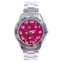 Digitally Painted Abstract Polka Dot Swirls On A Pink Background Stainless Steel Analogue Watch by Nexatart