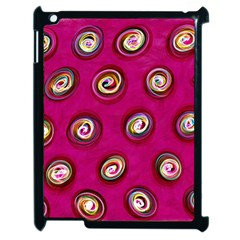 Digitally Painted Abstract Polka Dot Swirls On A Pink Background Apple Ipad 2 Case (black) by Nexatart