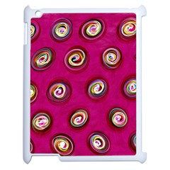 Digitally Painted Abstract Polka Dot Swirls On A Pink Background Apple Ipad 2 Case (white) by Nexatart