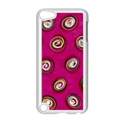 Digitally Painted Abstract Polka Dot Swirls On A Pink Background Apple Ipod Touch 5 Case (white) by Nexatart