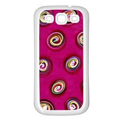 Digitally Painted Abstract Polka Dot Swirls On A Pink Background Samsung Galaxy S3 Back Case (white) by Nexatart