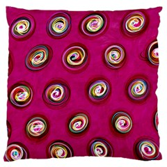 Digitally Painted Abstract Polka Dot Swirls On A Pink Background Large Flano Cushion Case (one Side) by Nexatart