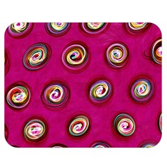 Digitally Painted Abstract Polka Dot Swirls On A Pink Background Double Sided Flano Blanket (medium)  by Nexatart