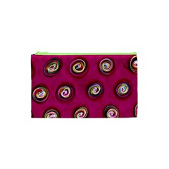Digitally Painted Abstract Polka Dot Swirls On A Pink Background Cosmetic Bag (xs) by Nexatart
