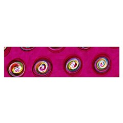 Digitally Painted Abstract Polka Dot Swirls On A Pink Background Satin Scarf (oblong) by Nexatart
