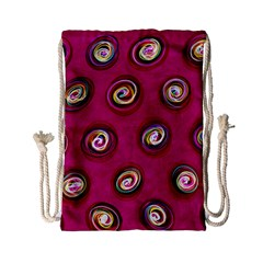 Digitally Painted Abstract Polka Dot Swirls On A Pink Background Drawstring Bag (small) by Nexatart