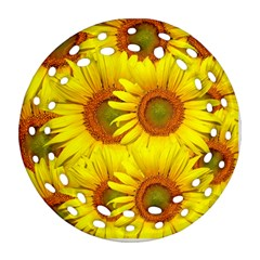 Sunflowers Background Wallpaper Pattern Round Filigree Ornament (two Sides) by Nexatart