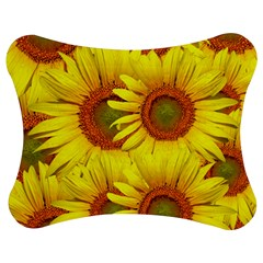 Sunflowers Background Wallpaper Pattern Jigsaw Puzzle Photo Stand (Bow)