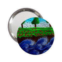 Beaded Landscape Textured Abstract Landscape With Sea Waves In The Foreground And Trees In The Background 2 25  Handbag Mirrors by Nexatart