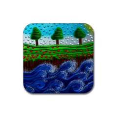 Beaded Landscape Textured Abstract Landscape With Sea Waves In The Foreground And Trees In The Background Rubber Square Coaster (4 Pack)  by Nexatart