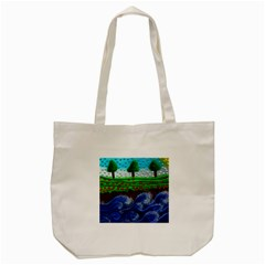 Beaded Landscape Textured Abstract Landscape With Sea Waves In The Foreground And Trees In The Background Tote Bag (cream) by Nexatart