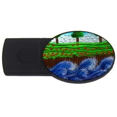 Beaded Landscape Textured Abstract Landscape With Sea Waves In The Foreground And Trees In The Background Usb Flash Drive Oval (4 Gb) by Nexatart