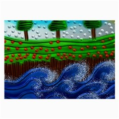 Beaded Landscape Textured Abstract Landscape With Sea Waves In The Foreground And Trees In The Background Large Glasses Cloth by Nexatart