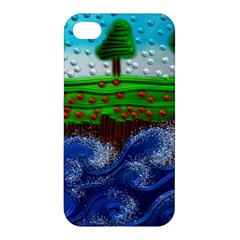 Beaded Landscape Textured Abstract Landscape With Sea Waves In The Foreground And Trees In The Background Apple Iphone 4/4s Hardshell Case by Nexatart