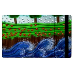 Beaded Landscape Textured Abstract Landscape With Sea Waves In The Foreground And Trees In The Background Apple Ipad 2 Flip Case by Nexatart