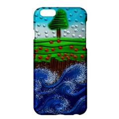 Beaded Landscape Textured Abstract Landscape With Sea Waves In The Foreground And Trees In The Background Apple Iphone 6 Plus/6s Plus Hardshell Case