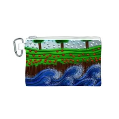 Beaded Landscape Textured Abstract Landscape With Sea Waves In The Foreground And Trees In The Background Canvas Cosmetic Bag (s) by Nexatart