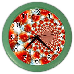 Stylish Background With Flowers Color Wall Clocks by Nexatart