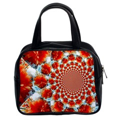 Stylish Background With Flowers Classic Handbags (2 Sides)