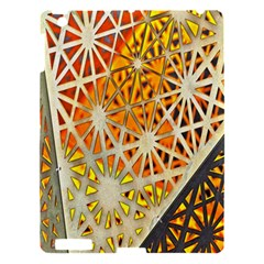 Abstract Starburst Background Wallpaper Of Metal Starburst Decoration With Orange And Yellow Back Apple Ipad 3/4 Hardshell Case by Nexatart