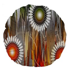 Floral Abstract Pattern Background Large 18  Premium Round Cushions