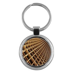Construction Site Rusty Frames Making A Construction Site Abstract Key Chains (round)  by Nexatart