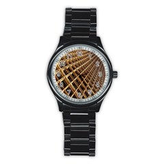 Construction Site Rusty Frames Making A Construction Site Abstract Stainless Steel Round Watch by Nexatart