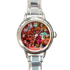 Abstract Fall Trees Saturated With Orange Pink And Turquoise Round Italian Charm Watch by Nexatart