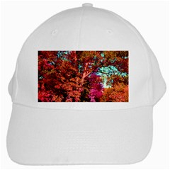 Abstract Fall Trees Saturated With Orange Pink And Turquoise White Cap by Nexatart