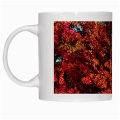 Abstract Fall Trees Saturated With Orange Pink And Turquoise White Mugs by Nexatart