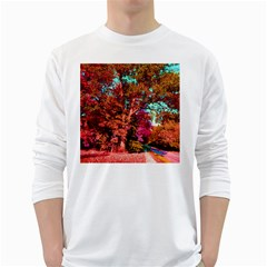 Abstract Fall Trees Saturated With Orange Pink And Turquoise White Long Sleeve T-Shirts by Nexatart