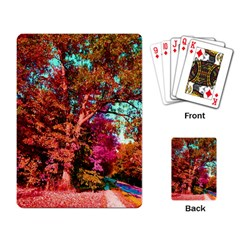Abstract Fall Trees Saturated With Orange Pink And Turquoise Playing Card by Nexatart